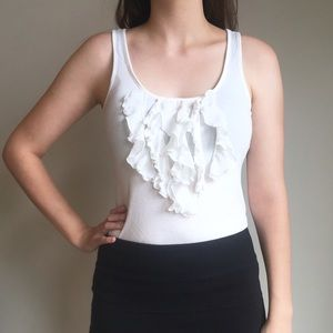 Express white ruffled tank top business casual top